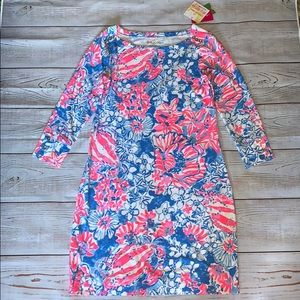 NWT Lilly Pulitzer UPF 50+ Sophie Dress. Pink/blue